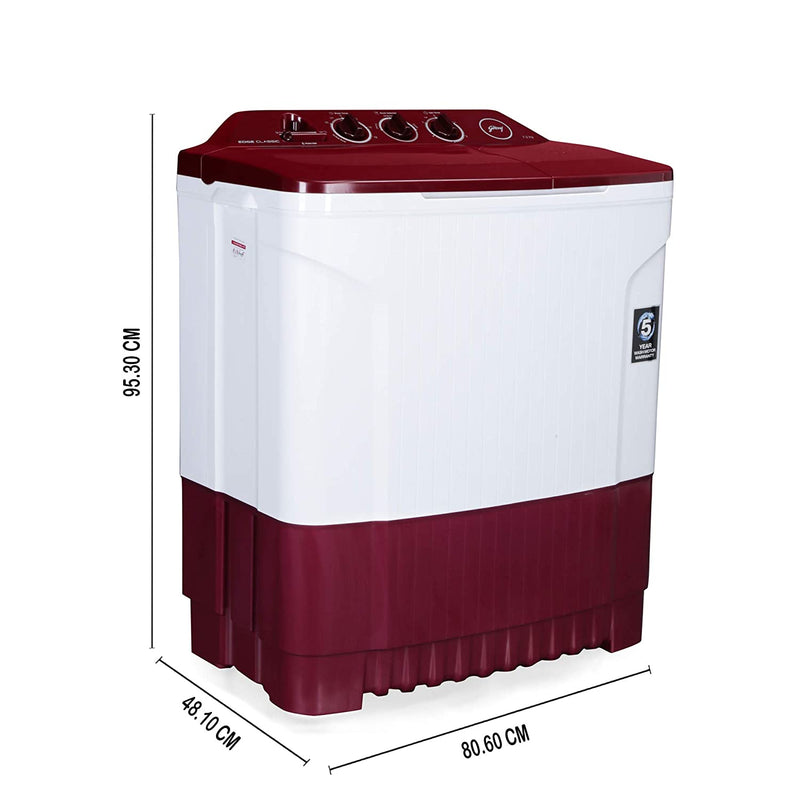 Godrej 7.2 Kg Semi-Automatic Top Loading Washing Machine (WS EDGE CLS 7.2 PN2 M WNRD, Wine Red) Godrej
