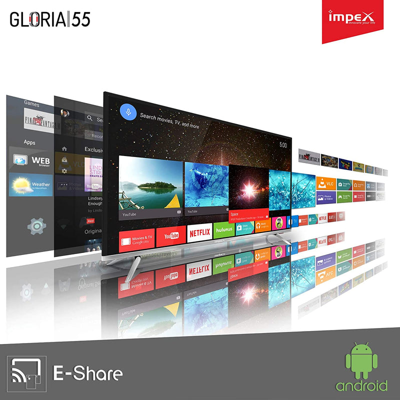 Impex 139 cm (55 Inches) 4K Ultra HD Smart LED TV GLORIA 55 SMART UHD (Black) Impex