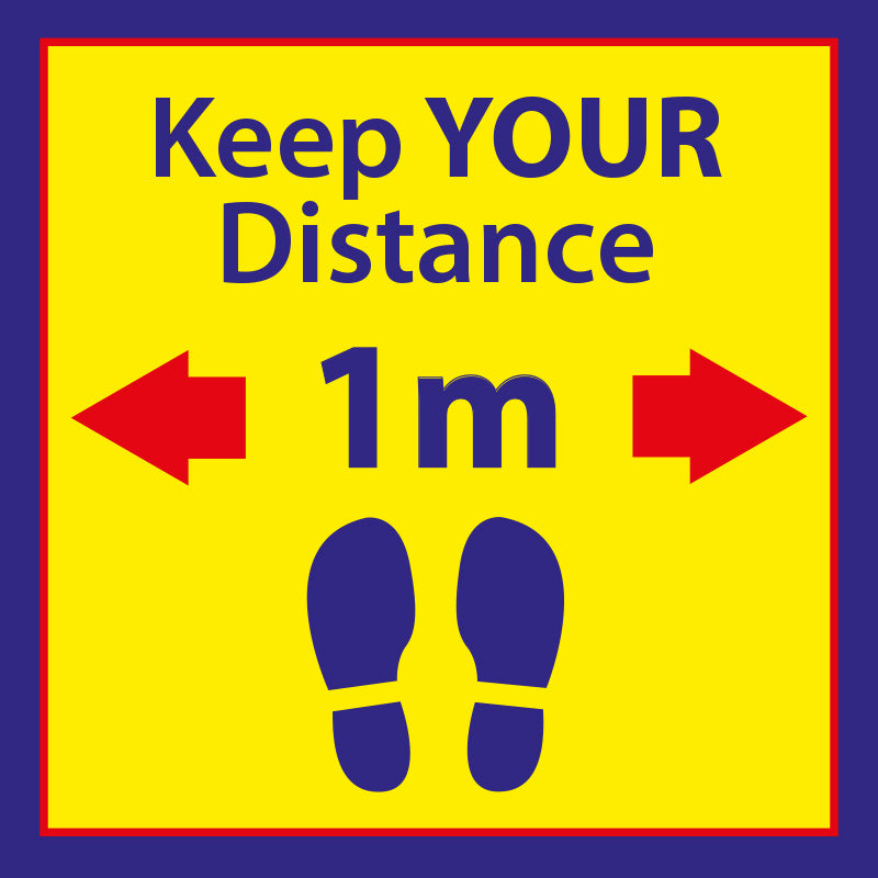 Keep Your Distance - 1 Metres ApartSquare Floor Sticker - Yellow & Blue