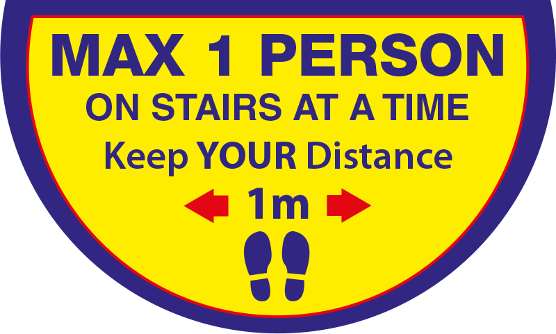 Max 1 Person on Stairs - Keep 1 Metres Apart Semi Circle Stairs Floor Sticker - Yellow & Blue
