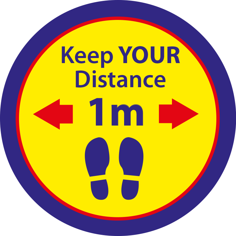 Keep Your Distance Circular Floor Sticker - Yellow & Blue