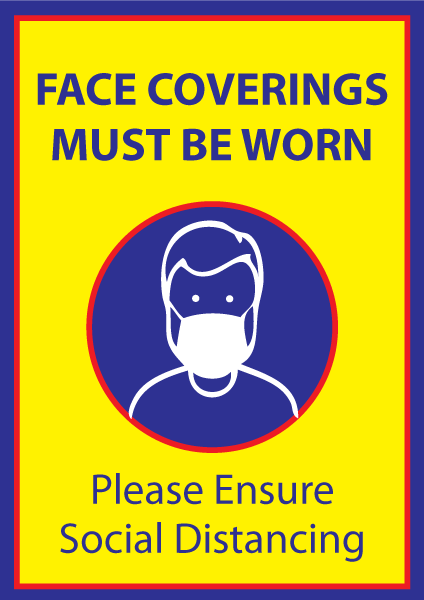 Face Coverings Must Be Worn Poster in A4, A3 or A2 - Yellow & Blue
