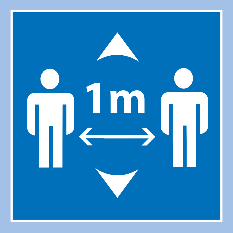 Please Keep 1 Metres Apart Square Floor Sticker - Light Blue
