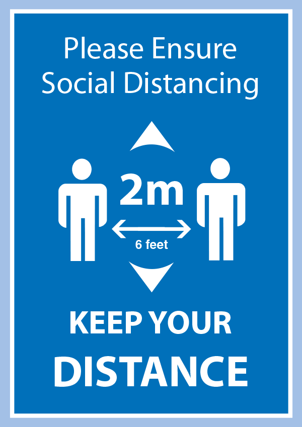 Please Keep 2 Metres ApartPoster in A4, A3 or A2 - Light Blue