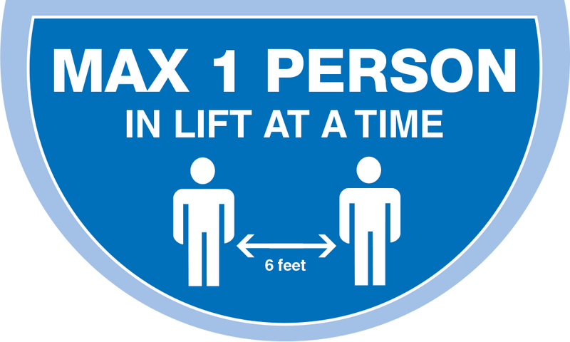 Maximum 1 person in a lift at a timeSemi Circle Lift Floor Sticker - Light Blue