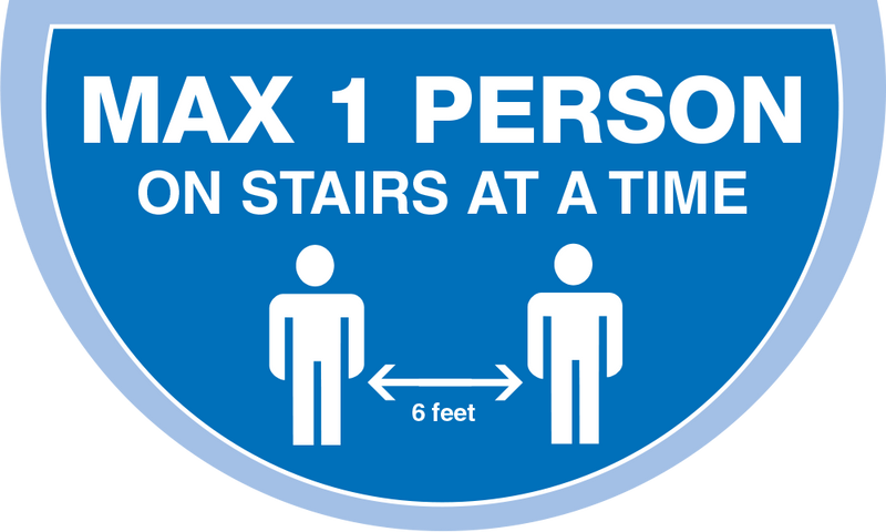 Max 1 Person on Stairs - Keep 2 Metres Apart Semi Circle Stairs Floor Sticker - Light Blue