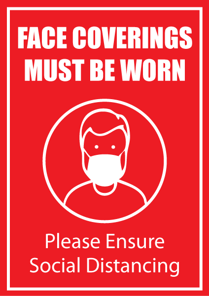 Face Coverings Must Be Worn Poster in A4, A3 or A2 - Red