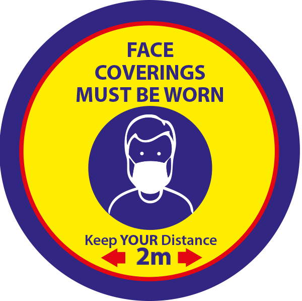 Face Coverings Must Be WornSticker - 100mm pack of 10 - Yellow & Blue