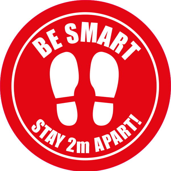 Be Smart - Stay 2m Apart Sticker - 100mm pack of 10 - Red