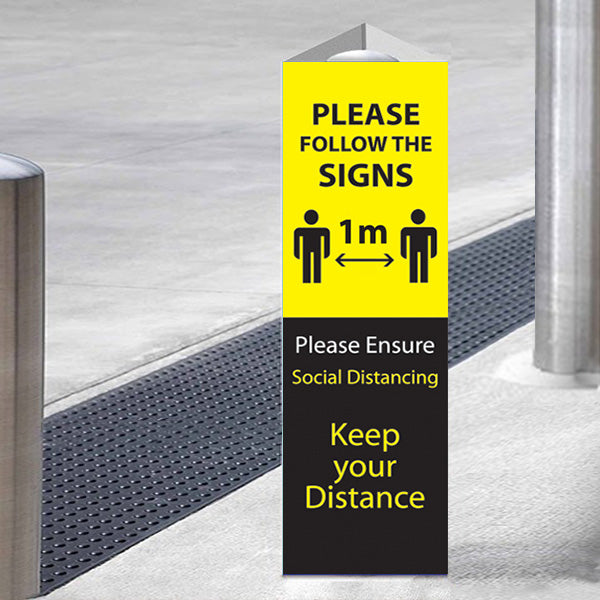 Follow the Signs - Please Keep 1 Metre Apart Bollard Wrap - Yellow & Black