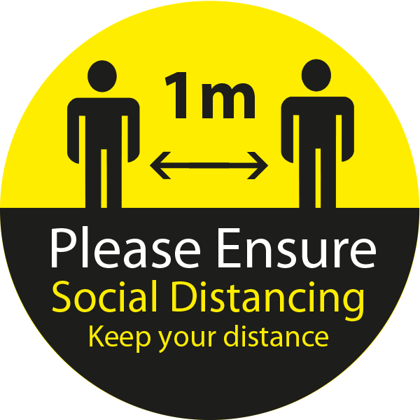 Please Ensure Social Distancing - 1 Metre Circular Floor Sticker - Yellow & Black