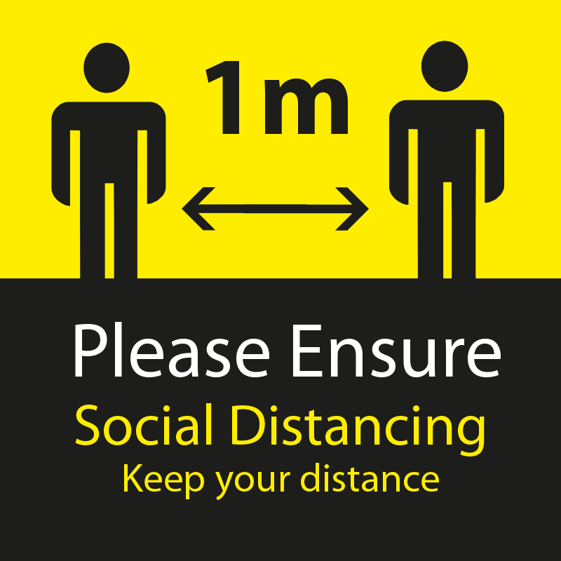 Please Ensure Social Distancing - 1 Metres Apart Square Floor Sticker - Yellow & Black