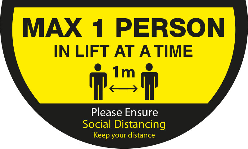 Maximum 1 person in a lift at a time 1 Metre - Semi Circle Lift Floor Sticker - Yellow & Black