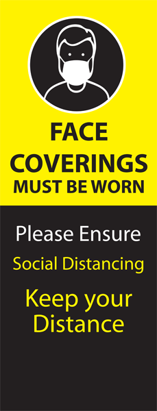 Face Coverings Must be Worn Pull Up Banner - Yellow/Black