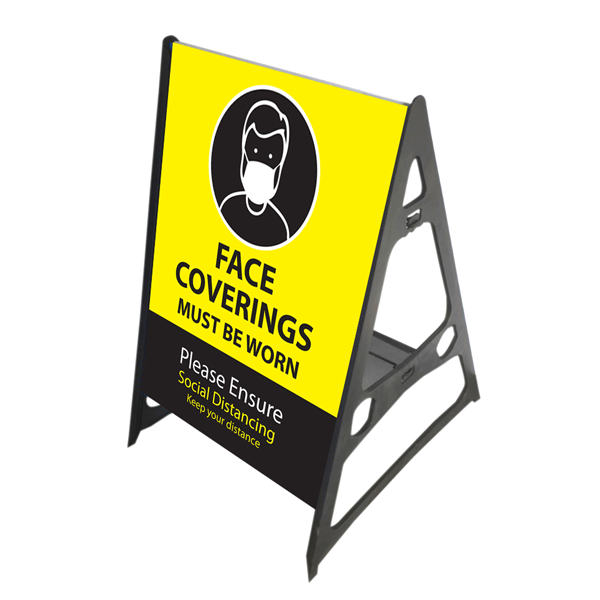 Face Coverings Must be Worn A Frame - yellow/black