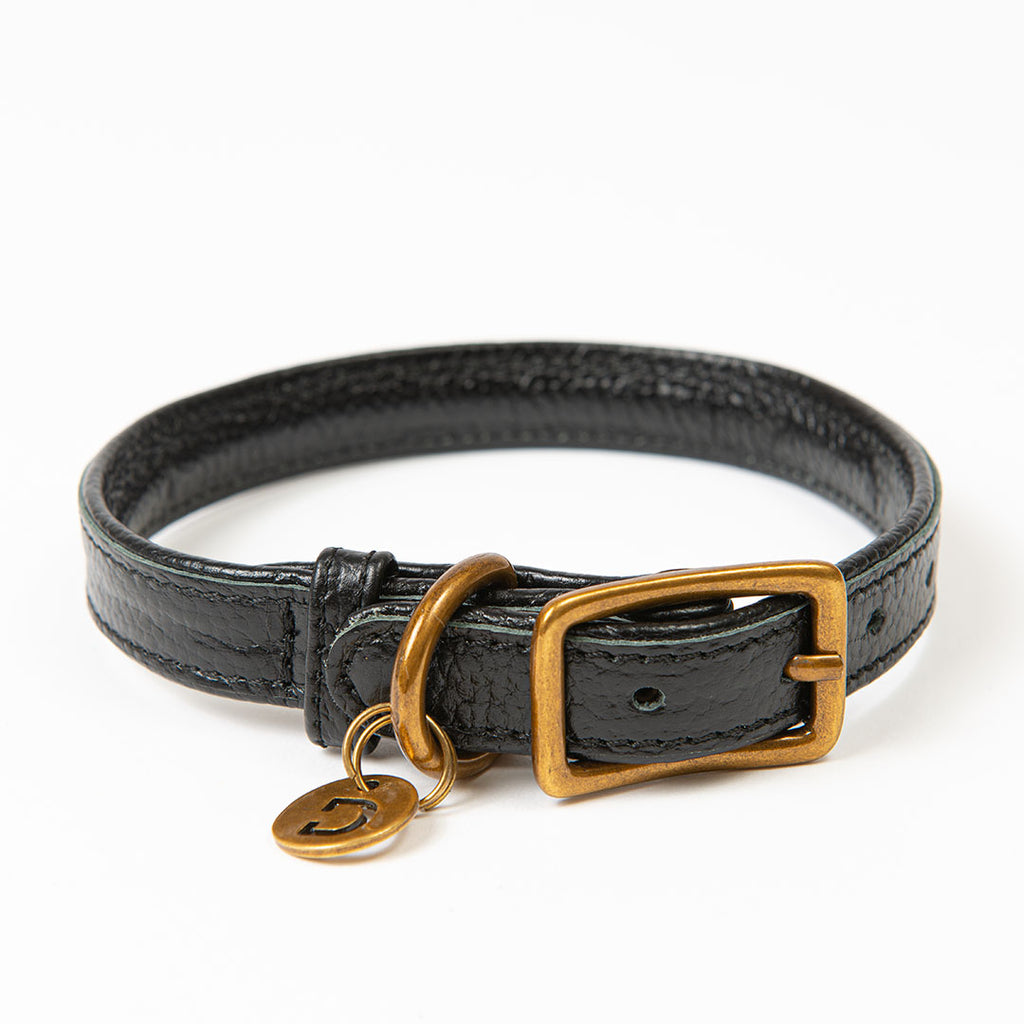 Genuine Leather Dog Collar | Black/Black