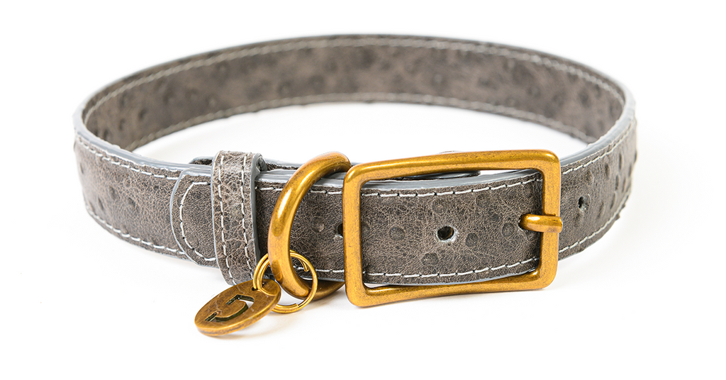Genuine Leather Dog Collar | Ostrich Grey