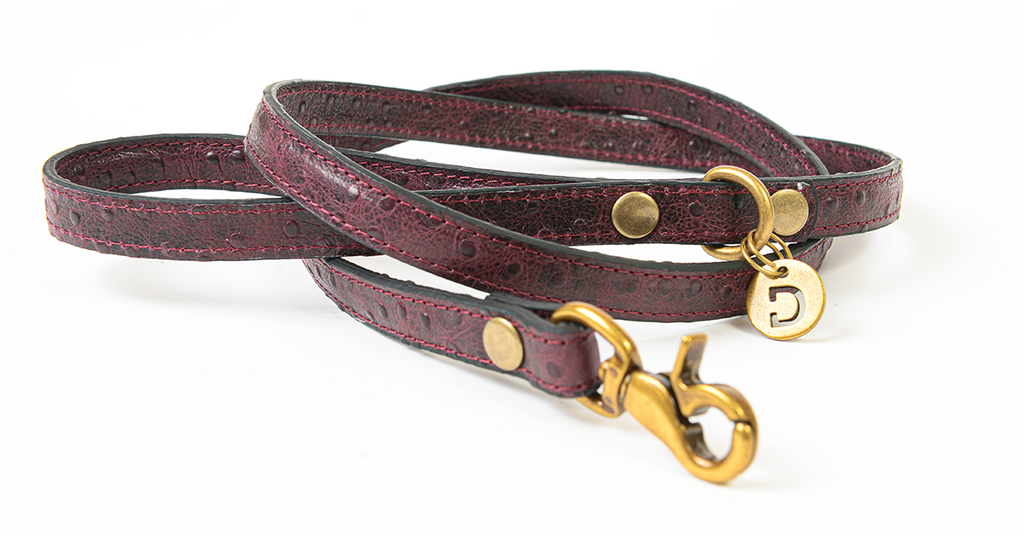 Genuine Leather Dog Lead | Ostrich Berry Purple