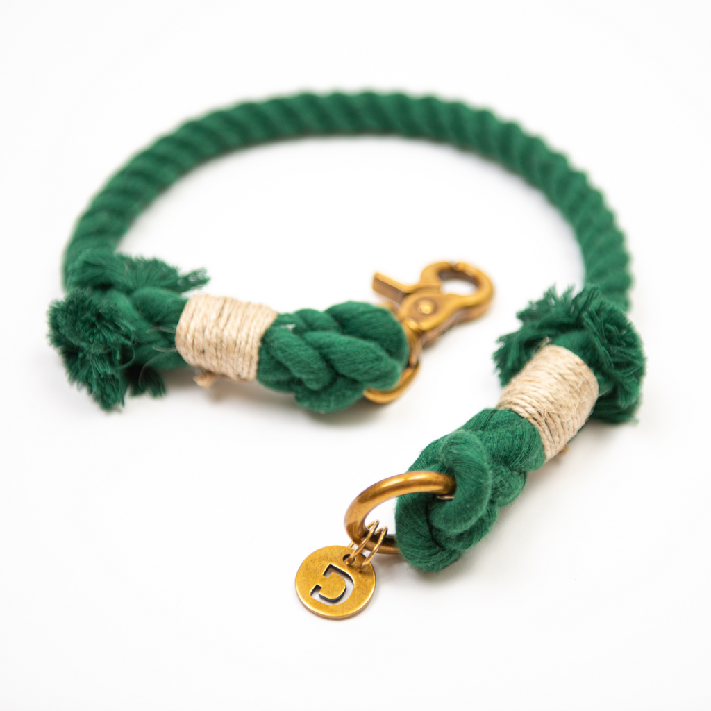 Cotton Rope Dog Collar | Green