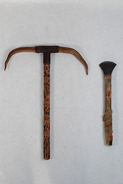 a sioux indian gun barrel hide scraper and a dance wand