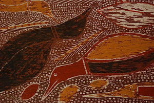 an aboriginal birds fish bark painting for sale