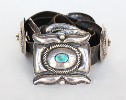 Fine Navajo Silver and Turquoise Concho Belt