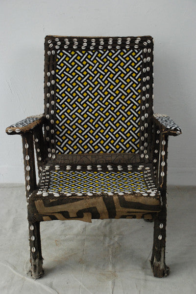 Traditional Kuba Beaded Chief's Chair