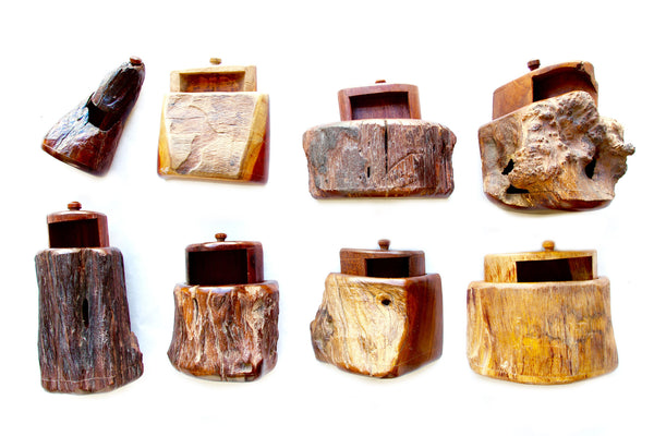 Collection Carved American Wooden Boxes