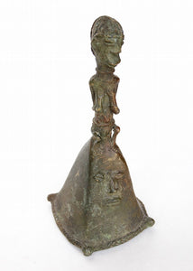 Yoruba Bronze Bell with Squatting Figure
