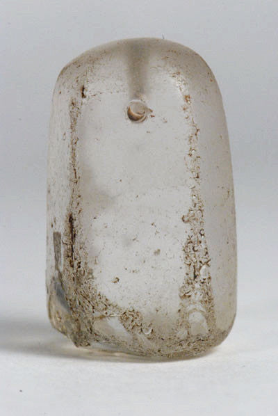 A transparent glass stamp from Western Anatolia