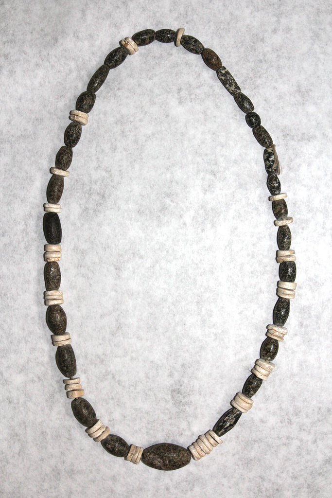 An Ancient California Steatite And Shell Disc Necklace