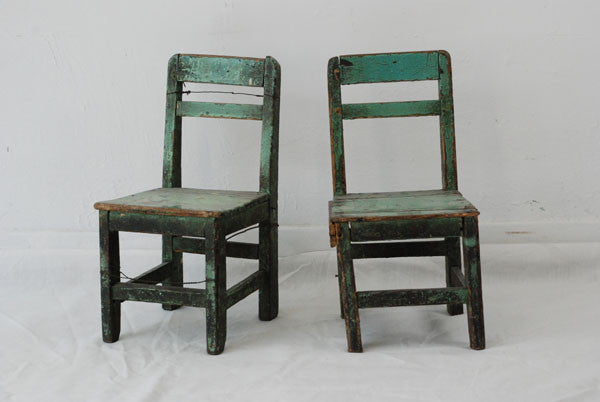 A Pair Of Primitive Chinese Children Chairs