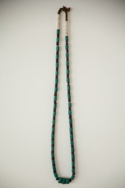 Naga necklace of old green, black, and white ceramic beads