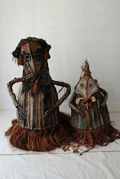 Male and female woven dance masks, Middle Sepik, New Guinea
