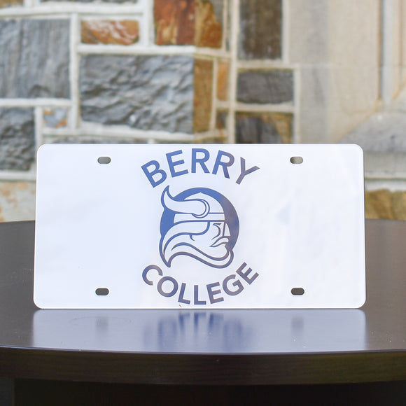 Berry College License Plate with Viking Head