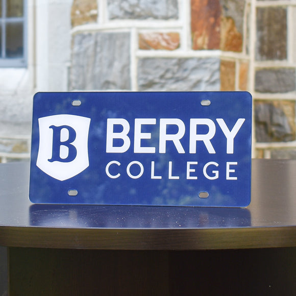 Berry College License Plate with Shield