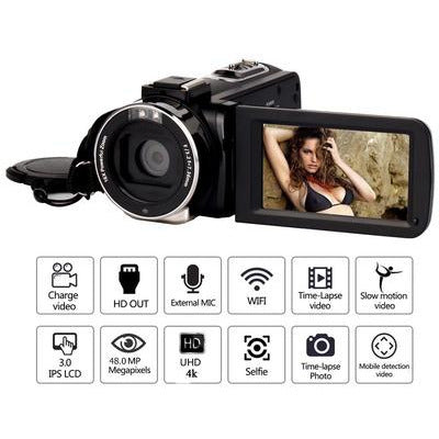 4K Video Camera with Microphone UHD Camcorder for Live Stream Webcam WiFi Remote Control Night Vision Portable Photography VSthingymajig