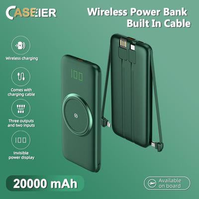 CASEIER 20000mAh Wireless Charger Power Bank Portable Battery with 4 Built-in Cables VSthingymajig