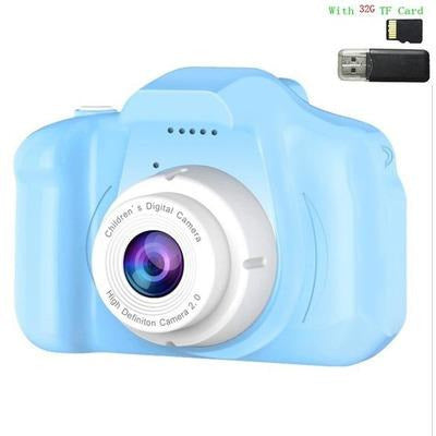 Children Kids Camera Mini Educational Digital Camera 1080P VSthingymajig Blue With 32G Micro SD