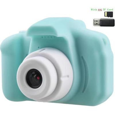 Children Kids Camera Mini Educational Digital Camera 1080P VSthingymajig Green With 32G Micro SD