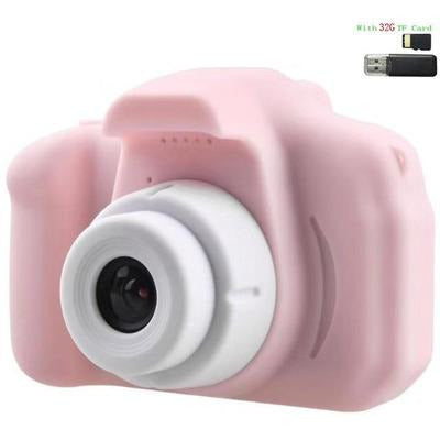 Children Kids Camera Mini Educational Digital Camera 1080P VSthingymajig Pink With 32G Micro SD