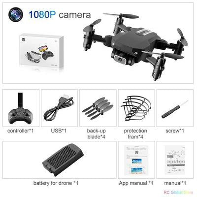Foldable RC Drone UAV Quadcopter WiFi FPV with 4K HD Camera Aerial Photography VSthingymajig 1080P Black 1B Box
