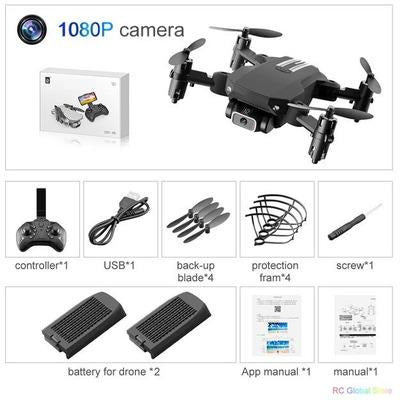 Foldable RC Drone UAV Quadcopter WiFi FPV with 4K HD Camera Aerial Photography VSthingymajig 1080P Black 2B Box