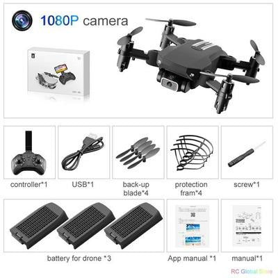 Foldable RC Drone UAV Quadcopter WiFi FPV with 4K HD Camera Aerial Photography VSthingymajig 1080P Black 3B Box
