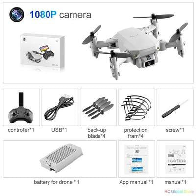 Foldable RC Drone UAV Quadcopter WiFi FPV with 4K HD Camera Aerial Photography VSthingymajig 1080P Gray 1B Box