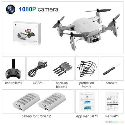 Foldable RC Drone UAV Quadcopter WiFi FPV with 4K HD Camera Aerial Photography VSthingymajig 1080P Gray 2B Box