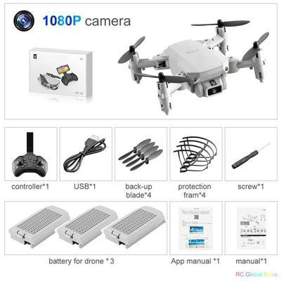 Foldable RC Drone UAV Quadcopter WiFi FPV with 4K HD Camera Aerial Photography VSthingymajig 1080P Gray 3B Box