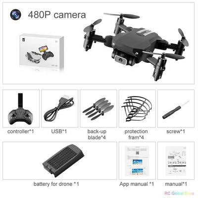 Foldable RC Drone UAV Quadcopter WiFi FPV with 4K HD Camera Aerial Photography VSthingymajig 480P Black 1B Box