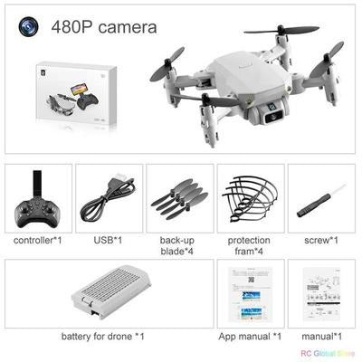Foldable RC Drone UAV Quadcopter WiFi FPV with 4K HD Camera Aerial Photography VSthingymajig 480P Gray 1B Box