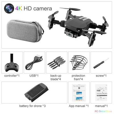Foldable RC Drone UAV Quadcopter WiFi FPV with 4K HD Camera Aerial Photography VSthingymajig 4K Black 1B Bag